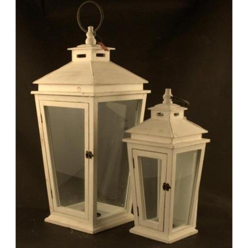 Set lanterne Amicasa Set 2 Lanterne Carinzia Bianco Art.13