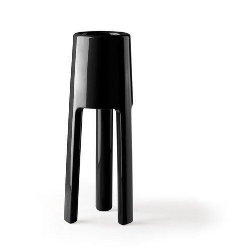 Vaso arredo interno ed esterno Plust Sepio nero laccato 47 x 47 x 120  cm 6520-07
