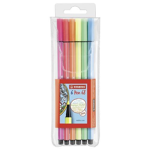 Pennarelli standard da disegno cf. 6 pz Colori assortiti fluo Pen68 Stabilo 6806-1
