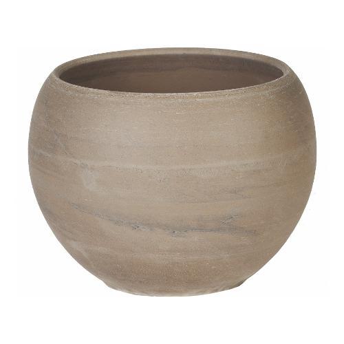Vaso piante Corino Bruna 057-126-12 ceramano composto a base di argilla effetto marmorizzato grigio chiaro D. 12 x h. 9  cm