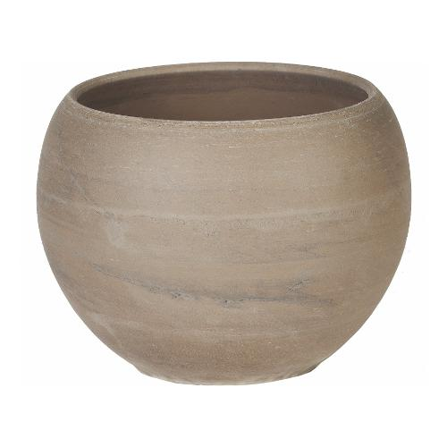 Vaso piante Corino Bruna 057-126-14 ceramano composto a base di argilla effetto marmorizzato grigio chiaro D. 13,6 x h. 10,2  cm
