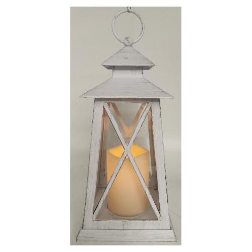 Lanterna Amicasa  Bianca Antichizzato con candela Led