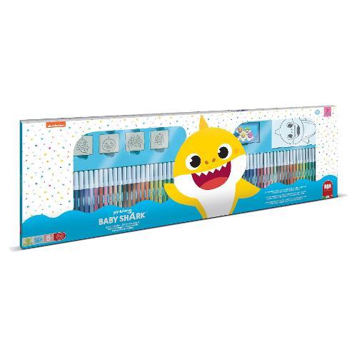 Kit colori per bambini cf. 60 pz + timbri e accessori Colori assortiti Baby Shark Maxi set Multiprint 18995