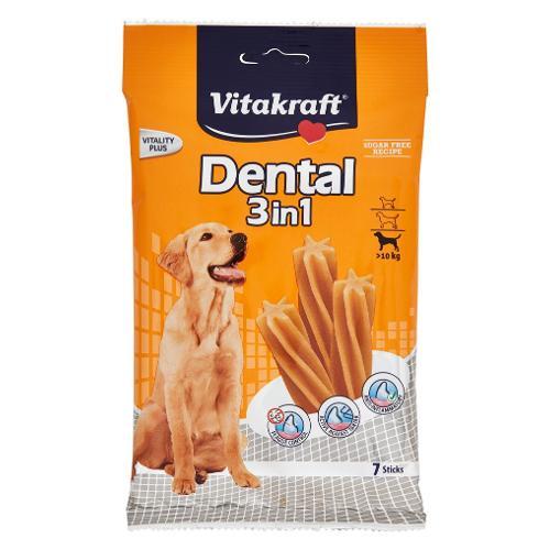 Snack cane Vitakraft Dental 3 in 1 Vitality Plus pollo e cereali Busta 7 pz (180 gr) 22219