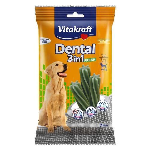 Snack cane Vitakraft Dental fresh Vitality Plus pollo, cereali e menta Busta 7 pz (180 gr) 30892