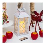 Lotti - Lanterna media bianca con candele e luci led. 36611