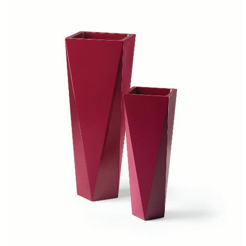 Vaso arredo interno ed esterno Plust Diamond rosso vinaccia laccato 36 x 36 x 98  cm 6514-d8