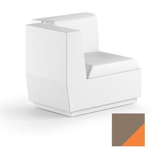 Modulo seduta per composizione divano angolo per uso esterno e interno Big-Cut Plust 6281-M7 81 x 81 x 73 cm finitura Tortora - arancio