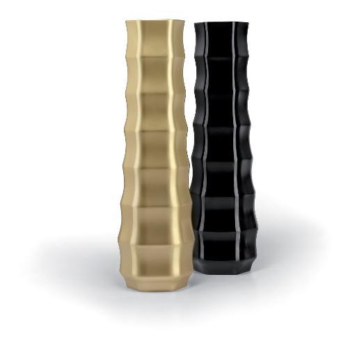 Vaso arredo interno ed esterno Plust Roo nero laccato 51 x 51 x 175  cm 6535-07