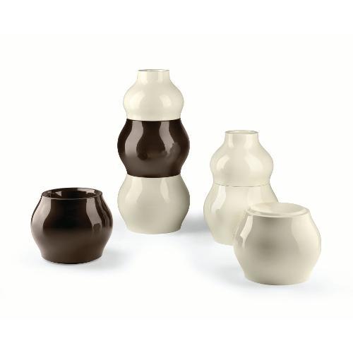 Vaso arredo interno ed esterno Plust Fuzzy bianco perla laccato D. 45 x h. 35,5  cm 6537-d3
