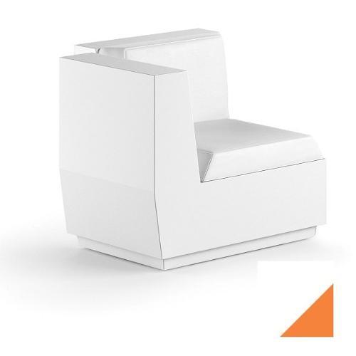 Modulo seduta per composizione divano angolo per uso esterno e interno Big-Cut Plust 6281-L7 81 x 81 x 73 cm finitura Bianco - Arancio