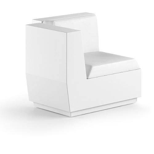 Modulo seduta per composizione divano angolo per uso esterno e interno Big-Cut Plust 6281-L6 81 x 81 x 73 cm finitura Bianco