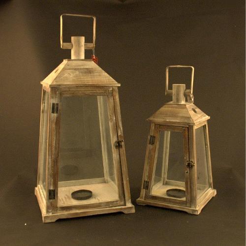 Set lanterne Amicasa Set 2 Lanterne Monaco Legno Art.16