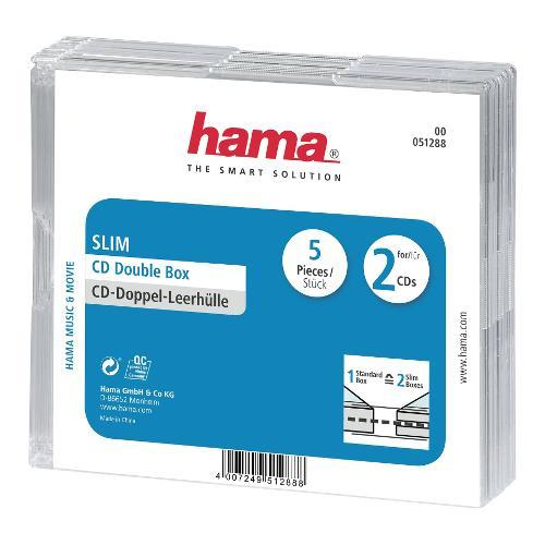 Set custodie CD e DVD Hama Conf.5Cust.CD Slim Doppie Trasp. 51288